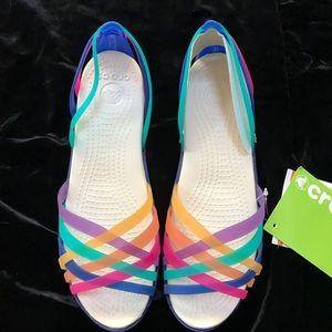 5298c7cf5a419 CROCS Shoes - Crocs Rainbow Huarache Flat Colorful Sandals 7